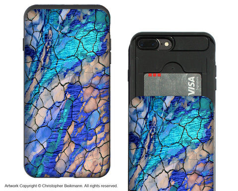 Desert Memories - Blue iPhone 7 Plus Card Holder Case - Abstract Wallet Compartment Case for iPhone 7 PLUS - iPhone 7 Plus Card Holder Case - Fusion Idol Arts - New Mexico Artist Christopher Beikmann