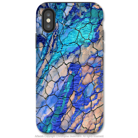 Desert Memories - iPhone X Tough Case - Dual Layer Protection for Apple iPhone 10 - Blue Abstract Art Case - iPhone X Tough Case - Fusion Idol Arts - New Mexico Artist Christopher Beikmann