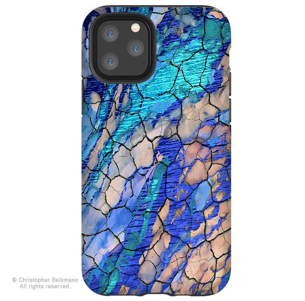 Desert Memories - iPhone 11 / 11 Pro / 11 Pro Max Tough Case - Dual Layer Protection for Apple iPhone XI - Blue Abstract Art Case - iPhone 11 Tough Case - Fusion Idol Arts - New Mexico Artist Christopher Beikmann