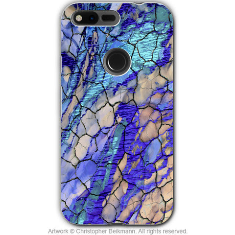 Blue Desert Abstract - Artistic Google Pixel Tough Case - Dual Layer Protection - desert memories - Fusion Idol Arts