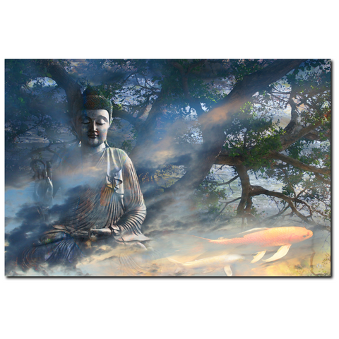 Ethereal Zen Buddha and Koi Fish Art Canvas - Universal Flow, Premium Canvas Gallery Wrap - Christopher Beikmann