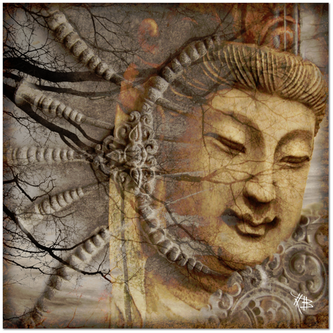 Earth Tone Kwan Yin Buddhist Goddess Art Canvas - A Cry Is Heard - Fusion Idol - Art and Gifts by Artist Christopher Beikmann - 1