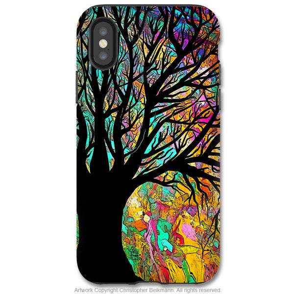 Forbidden Forest - iPhone X Tough Case - Dual Layer Protection for Apple iPhone 10 - Colorful Tree Silhouette Art - iPhone X Tough Case - Fusion Idol Arts - New Mexico Artist Christopher Beikmann