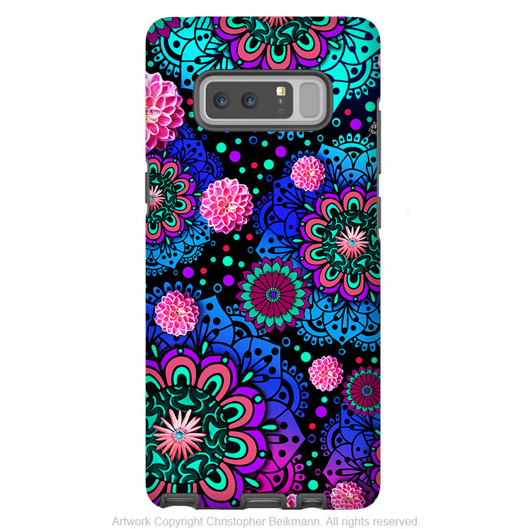 Colorful Modern Paisley Galaxy Note 8 Tough Case - Dual Layer Protection - Floral Case for Samsung Galaxy Note 8 - Frilly Floratopia - Galaxy Note 8 Tough Case - Fusion Idol Arts - New Mexico Artist Christopher Beikmann