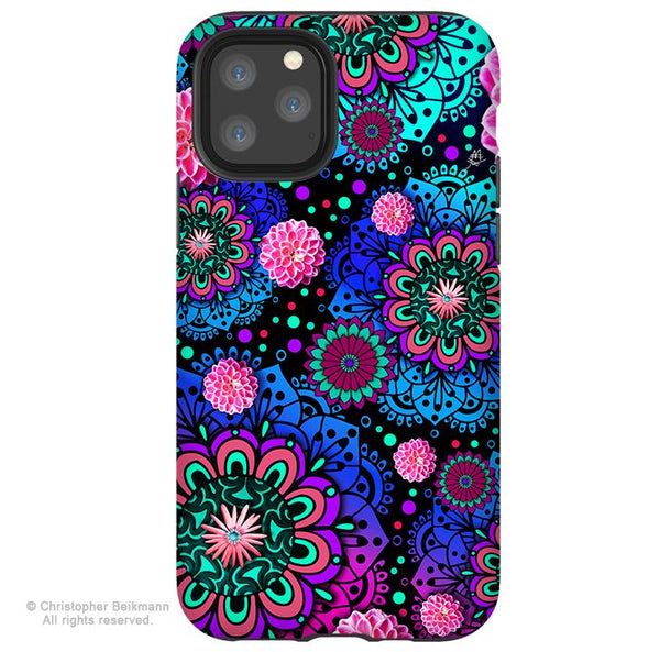 Frilly Floratopia - iPhone 11 / 11 Pro / 11 Pro Max Tough Case - Dual Layer Protection for Apple iPhone Paisley Floral Art Case - iPhone 11 Tough Case - Fusion Idol Arts - New Mexico Artist Christopher Beikmann