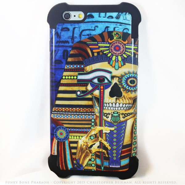 Egyptian Sugar Skull - Funky Bone Pharaoh - iPhone 6 Plus - 6s Plus SUPER BUMPER Case - iPhone 6 6s Plus SUPER BUMPER Case - Fusion Idol Arts - New Mexico Artist Christopher Beikmann