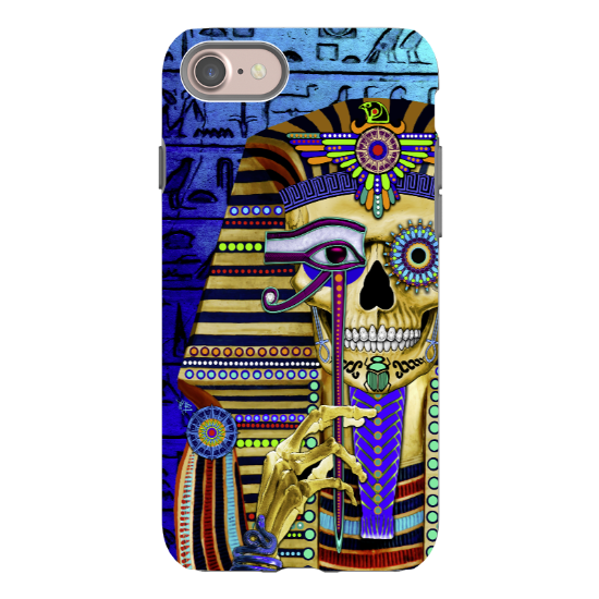 Egyptian Sugar Skull - iPhone 8 Tough Case - Dual Layer Protection - Funky Bone Pharaoh - iPhone 8 Tough Case - Fusion Idol Arts - New Mexico Artist Christopher Beikmann