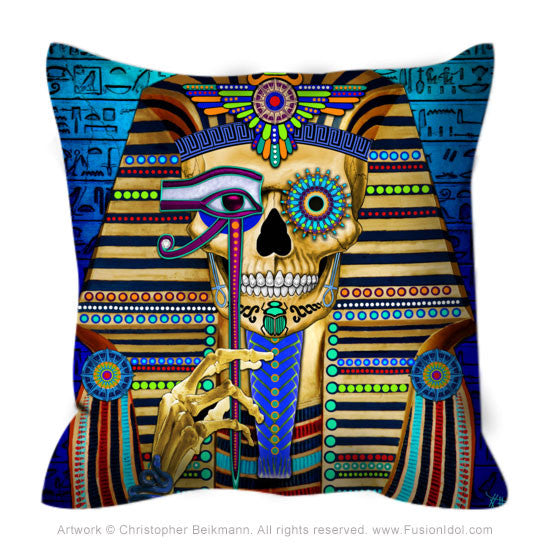 Funky Bone Pharaoh Throw Pillow - Egyptian Sugar Skull Pillow, Throw Pillow - Christopher Beikmann