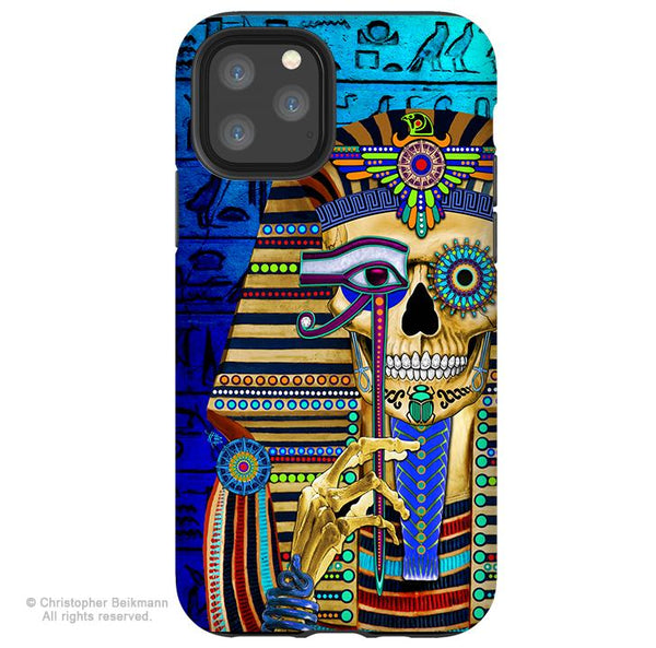 Funky Bone Pharaoh - iPhone 11 / 11 Pro / 11 Pro Max Tough Case - Dual Layer Protection for Apple iPhone XI - Egyptian Sugar Skull Case - iPhone 11 Tough Case - Fusion Idol Arts - New Mexico Artist Christopher Beikmann