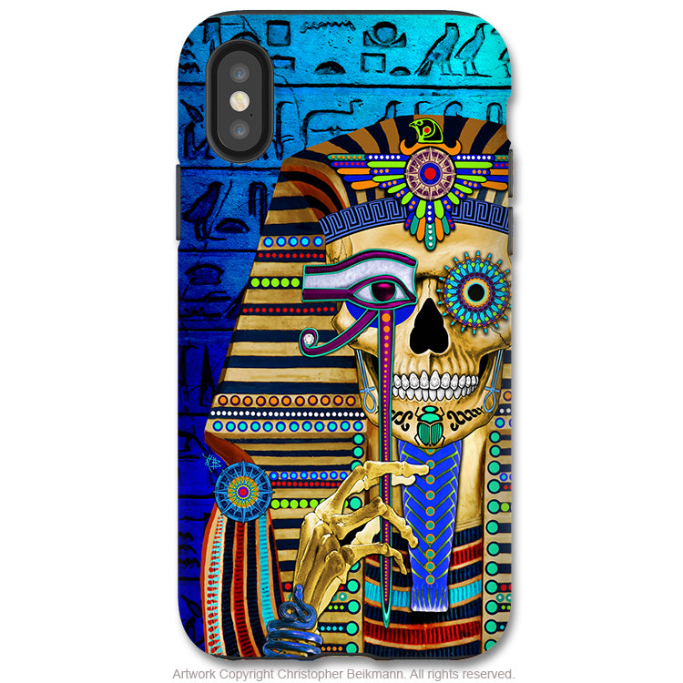 Funky Bone Pharaoh - iPhone X Tough Case - Dual Layer Protection for Apple iPhone 10 - Egyptian Sugar Skull Art - iPhone X Tough Case - Fusion Idol Arts - New Mexico Artist Christopher Beikmann