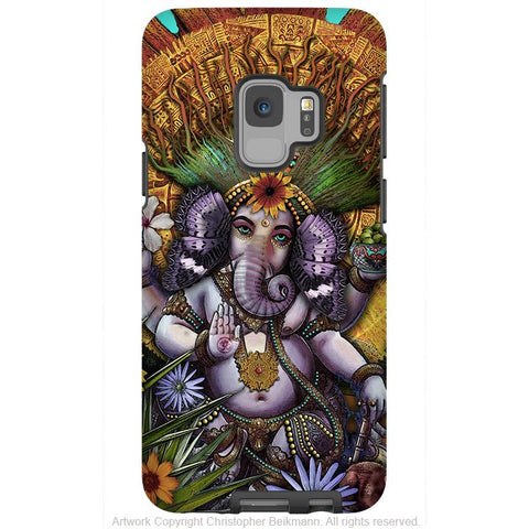 Ganesha Maya - Floral Ganesh - Galaxy S9 / S9 Plus / Note 9 Tough Case - Dual Layer Protection for Samsung S9 - Galaxy S9 / S9+ / Note 9 - Fusion Idol Arts - New Mexico Artist Christopher Beikmann