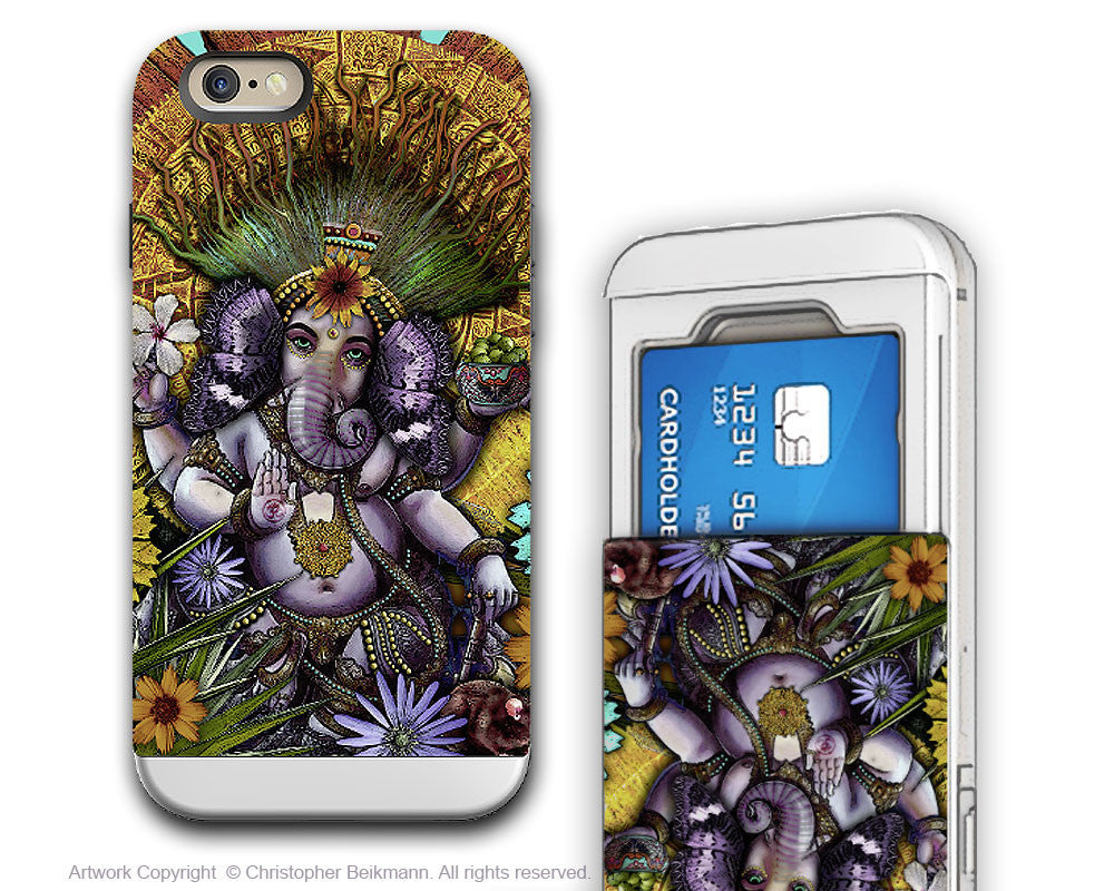 Colorful Ganesha iPhone 6 6s Cardholder Case - Ganesha Maya - Hindu Floral Credit Card Holder Case for iPhone 6s - iPhone 6 6s Card Holder Case - Fusion Idol Arts - New Mexico Artist Christopher Beikmann