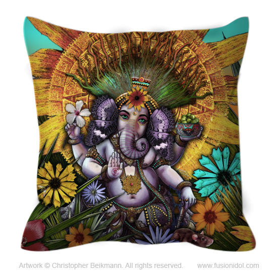 Colorful Floral Ganesha Throw Pillow - Ganesha Maya - Throw Pillow - Fusion Idol Arts - New Mexico Artist Christopher Beikmann