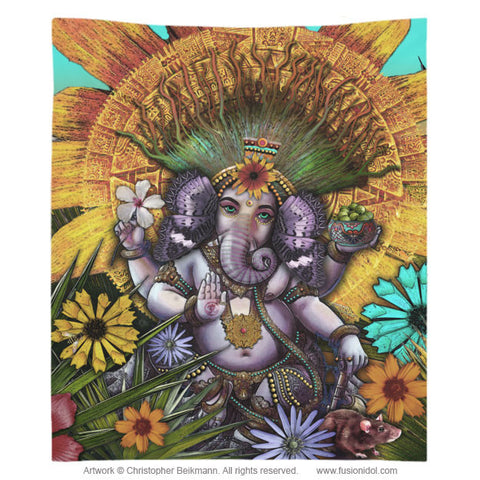 Colorful Floral Ganesha Tapestry - Ganesha Maya - Tapestry - Fusion Idol Arts - New Mexico Artist Christopher Beikmann