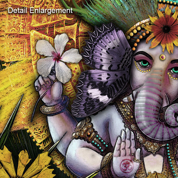 Colorful Floral Lord Ganesha Hindu Art Canvas - Ganesha Maya, Premium Canvas Gallery Wrap - Christopher Beikmann