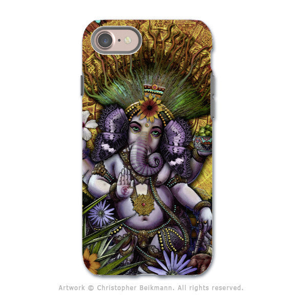 Ganesha Colorful Floral - Artistic iPhone 7 Tough Case - Dual Layer Protection - Ganesha Maya - iPhone 7 Tough Case - Fusion Idol Arts - New Mexico Artist Christopher Beikmann