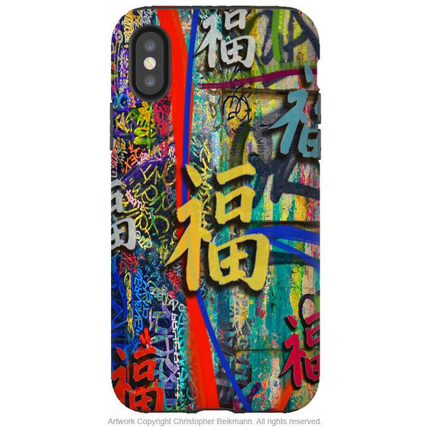 Good Fortune Graffiti - iPhone X / XS / XS Max / XR Tough Case - Colorful Dual Layer Protection for Apple iPhone 10 - iPhone X Tough Case - Fusion Idol Arts - New Mexico Artist Christopher Beikmann
