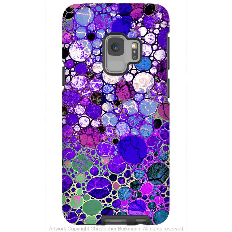Grape Bubbles - Galaxy S9 / S9 Plus / Note 9 Tough Case - Dual Layer Protection for Samsung S9 - Purple Art Case - Galaxy S9 / S9+ / Note 9 - Fusion Idol Arts - New Mexico Artist Christopher Beikmann