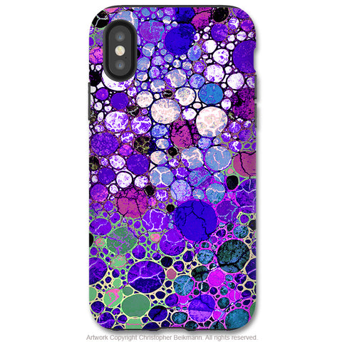 Grape Bubbles - iPhone X / XS / XS Max / XR Tough Case - Dual Layer Protection for Apple iPhone 10 - Purple Abstract Art Case - iPhone X Tough Case - Fusion Idol Arts - New Mexico Artist Christopher Beikmann