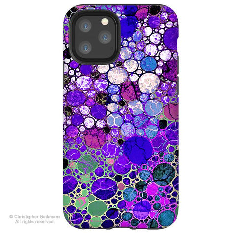 Grape Bubbles - iPhone 11 / 11 Pro / 11 Pro Max Tough Case - Dual Layer Protection for Apple iPhone XI - Purple Abstract Art Case - iPhone 11 Tough Case - Fusion Idol Arts - New Mexico Artist Christopher Beikmann