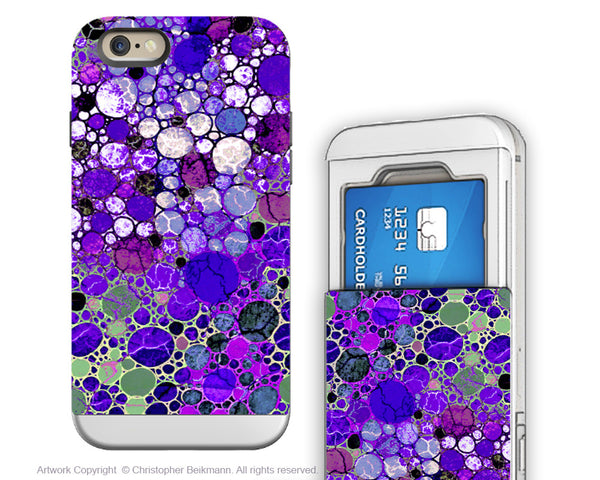 Purple Bubble Abstract - Artistic iPhone 6 6s Case - Cardholder Wallet Case - grape bubbles - iPhone 6 6s Card Holder Case - Fusion Idol Arts - New Mexico Artist Christopher Beikmann