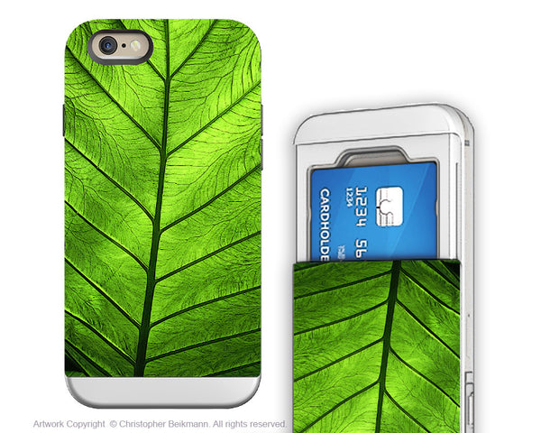 Green Leaf iPhone 6 6s Cardholder Case - Leaf of Knowledge - Nature Art Wallet / Credit Card Holder Case for iPhone 6s - iPhone 6 6s Card Holder Case - Fusion Idol Arts - New Mexico Artist Christopher Beikmann