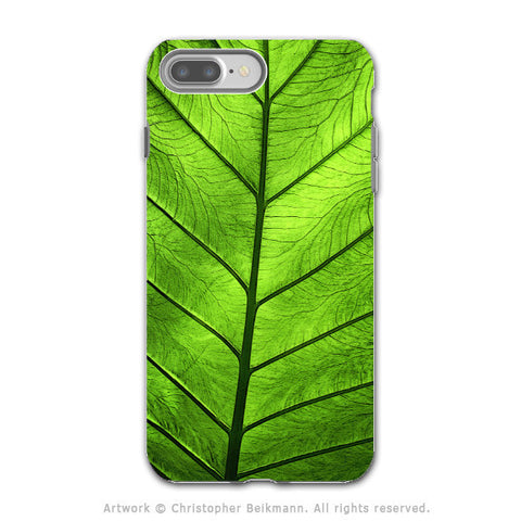 Tropical Green Leaf - Artistic iPhone 7 PLUS - 7s PLUS Tough Case - Dual Layer Protection - Leaf of Knowledge - iPhone 7 Plus Tough Case - Fusion Idol Arts - New Mexico Artist Christopher Beikmann