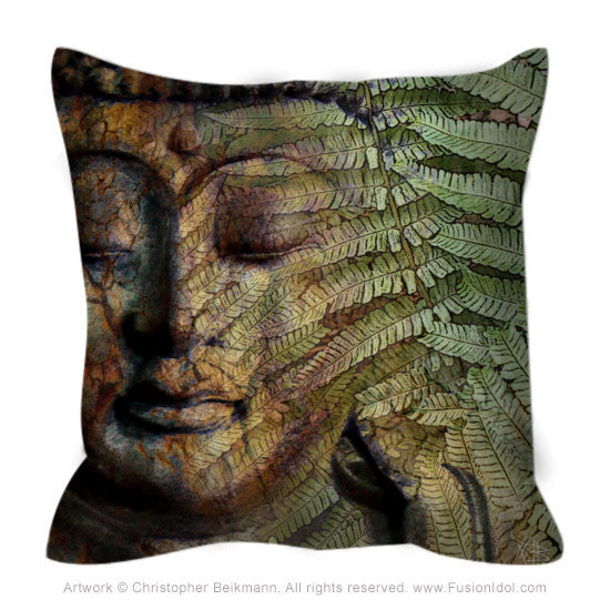 Green and Brown Fern Buddha Throw Pillow - Convergence of Thought - Fusion Idol Arts