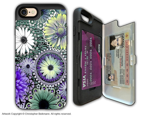 Purple Paisley Floral - Artistic Apple iPhone 7 Card Holder Case - Protective Wallet Case - tidal bloom - iPhone 7 Card Holder Case - Fusion Idol Arts - New Mexico Artist Christopher Beikmann
