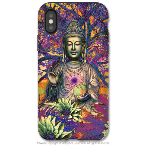 Healing Nature Kwan Yin - iPhone X Tough Case - Dual Layer Protection for Apple iPhone 10 - Colorful Buddhist Goddess Art Case - iPhone X Tough Case - Fusion Idol Arts - New Mexico Artist Christopher Beikmann