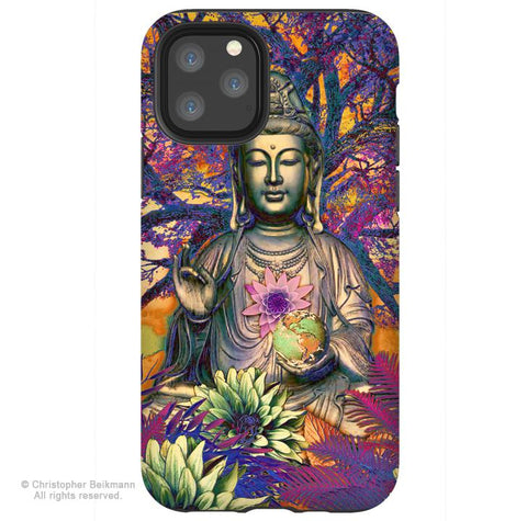Healing Nature Kwan Yin - iPhone 11 / 11 Pro / 11 Pro Max Tough Case - Dual Layer Protection for Apple iPhone XI - Buddhist Art Case - iPhone 11 Tough Case - Fusion Idol Arts - New Mexico Artist Christopher Beikmann
