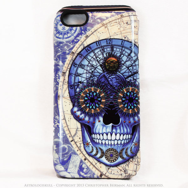 Blue Astrological Skull iPhone 5c TOUGH Case - Astrologiskull - Steampunk Skull iPhone case - iPhone 5c TOUGH Case - Fusion Idol Arts - New Mexico Artist Christopher Beikmann