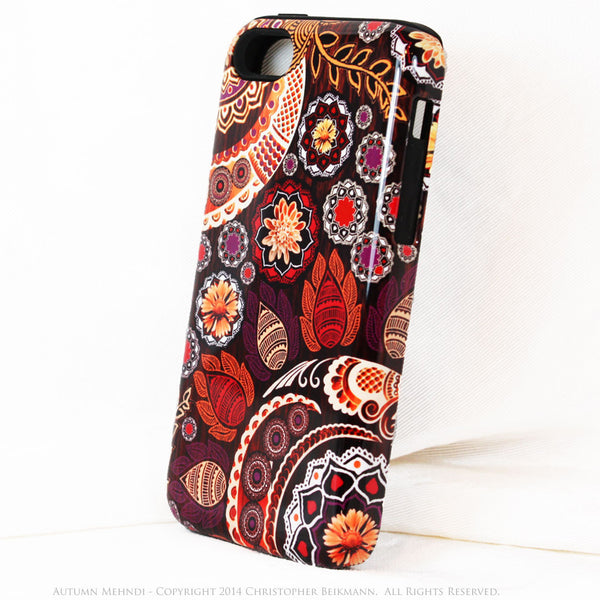 Fall Paisley iPhone 5c TOUGH Case - Autumn Mehndi -  Floral Dual Layer iPhone Case - iPhone 5c TOUGH Case - 2