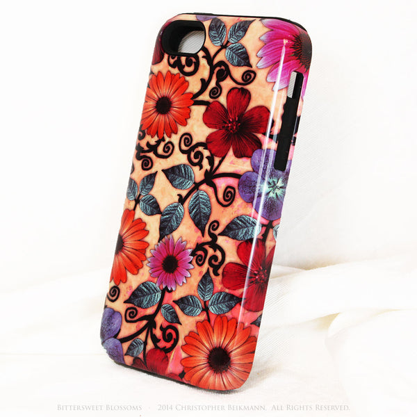 Peach Floral iPhone 5c TOUGH Case - Bittersweet Blossoms - Peach Paisley Flower Art - Unique Case For iPhone 5c - iPhone 5c TOUGH Case - Fusion Idol Arts - New Mexico Artist Christopher Beikmann