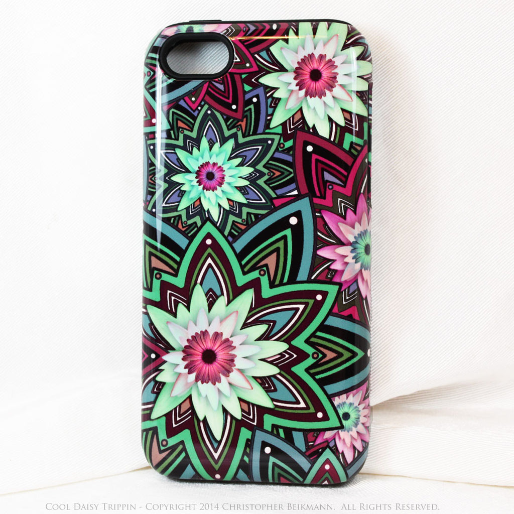 Purple and Green Floral iPhone 5c TOUGH Case - Cool Daisy Trippin - Geometric Daisy Flower Dual Layer iPhone Case - Fusion Idol Arts