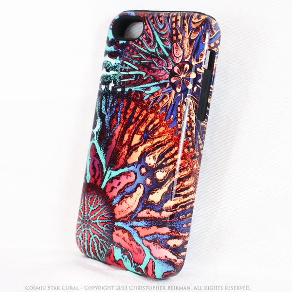 Coral iPhone 5c TOUGH Case - Cosmic Star Coral - Colorful Ocean Coral Art -  Dual Layer Abstract Case - Fusion Idol Arts
