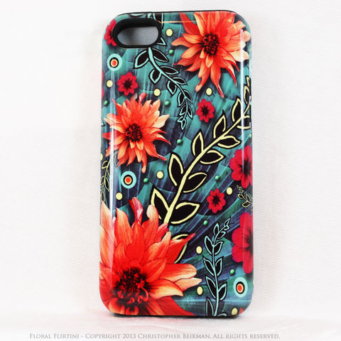 Paisley iPhone 5c TOUGH Case - Floral Flirtini - Teal Green and Orange Paisley Floral Art - Unique Case For iPhone 5c - iPhone 5c TOUGH Case - Fusion Idol Arts - New Mexico Artist Christopher Beikmann