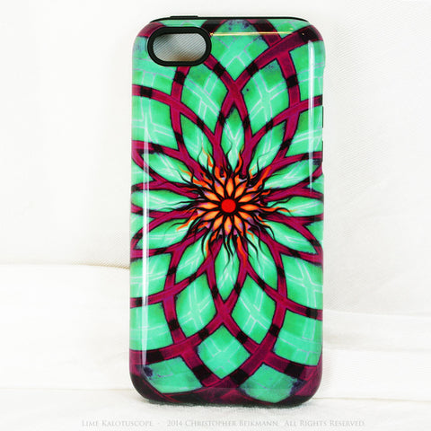 Lime Green and Purple Geometric iPhone 5c TOUGH Case - Lime Kalotuscope - Abstract Lotus Flower Dual Layer iPhone Case - iPhone 5c TOUGH Case - Fusion Idol Arts - New Mexico Artist Christopher Beikmann
