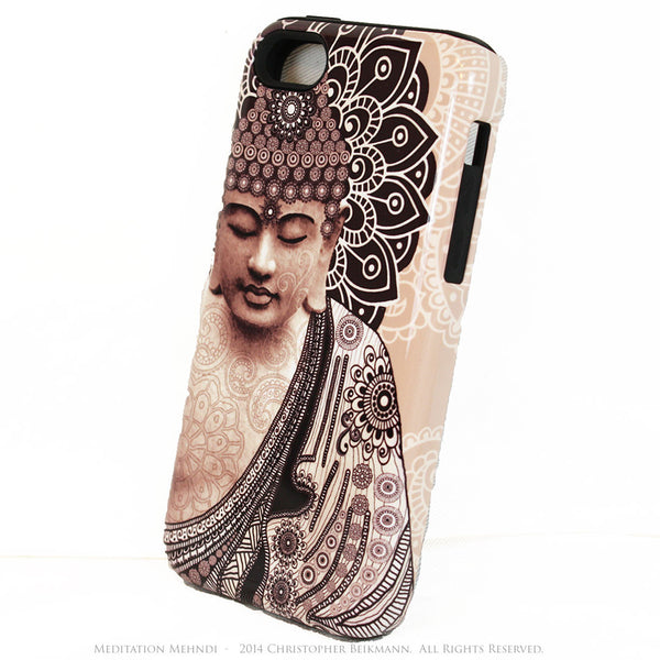 "Tan Paisley Buddha iPhone 5s SE TOUGH Case - Unique Buddhist Art ""Meditation Mehndi"" Zen Yoga iPhone 5s SE Case - iPhone 5 5s TOUGH Case - Fusion Idol Arts - New Mexico Artist Christopher Beikmann"
