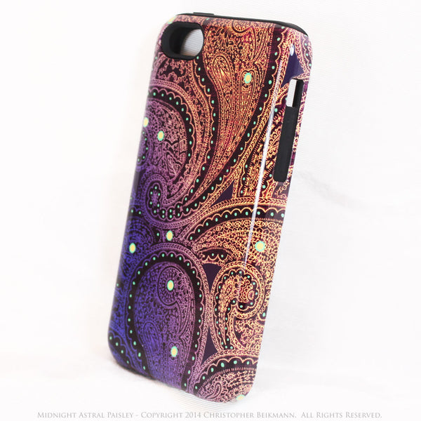 Purple and gold Paisley iPhone 5c TOUGH Case - Midnight Astral Paisley  - Paisley Dual Layer iPhone Case - iPhone 5c TOUGH Case - Fusion Idol Arts - New Mexico Artist Christopher Beikmann