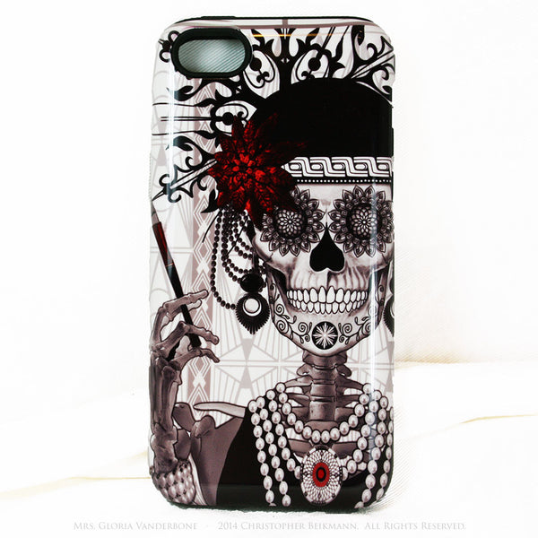 Flapper Girl Skull iPhone 5c TOUGH Case - 1920s Art Deco Sugar Skull iPhone Case - Day of the Dead - Artistic Case For iPhone 5c - iPhone 5c TOUGH Case - Fusion Idol Arts - New Mexico Artist Christopher Beikmann