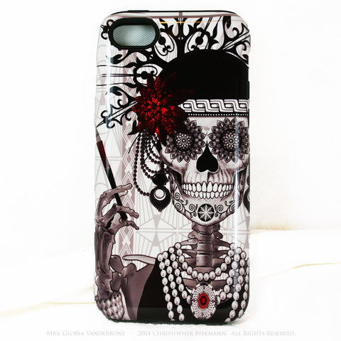Flapper Girl Skull iPhone 5c TOUGH Case - 1920s Art Deco Sugar Skull iPhone Case - Day of the Dead - Artistic Case For iPhone 5c - iPhone 5c TOUGH Case - 1