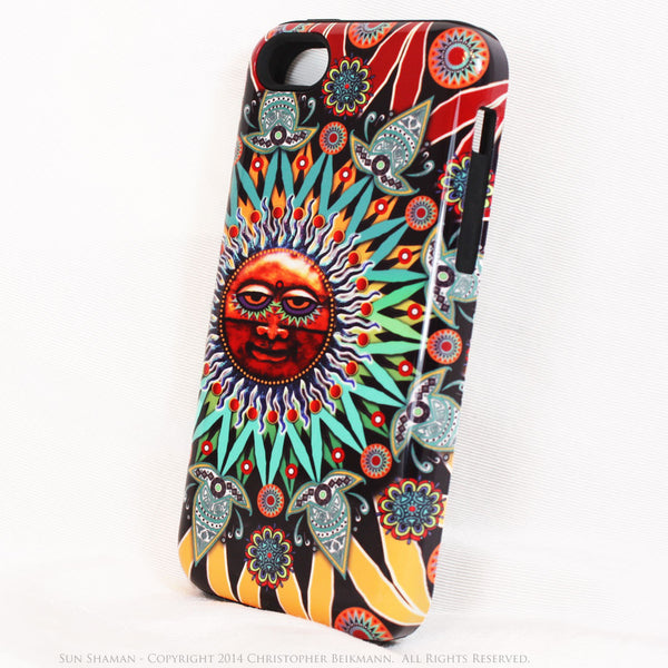 Tribal Sun iPhone 5c TOUGH Case - Sun Shaman - Aztec Astrology iPhone case - iPhone 5c TOUGH Case - Fusion Idol Arts - New Mexico Artist Christopher Beikmann