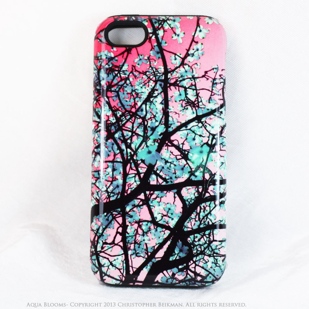Tree Blossom iPhone 5s SE TOUGH Case - Aqua Blooms - Pink and Blue Spring Floral Art - Artistic Case for iPhone 5s SE - iPhone 5 5s TOUGH Case - Fusion Idol Arts - New Mexico Artist Christopher Beikmann
