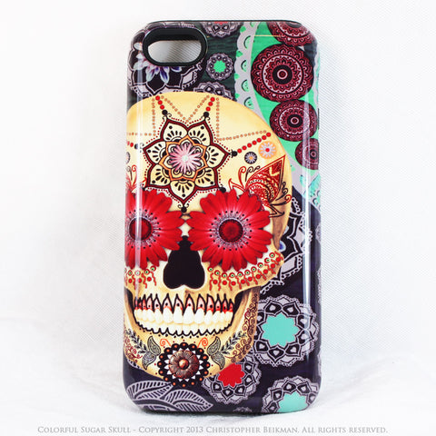 Colorful Skull iPhone 5c TOUGH Case - Sugar Skull Paisley Garden - Day of the Dead dual layer iPhone case - Fusion Idol Arts