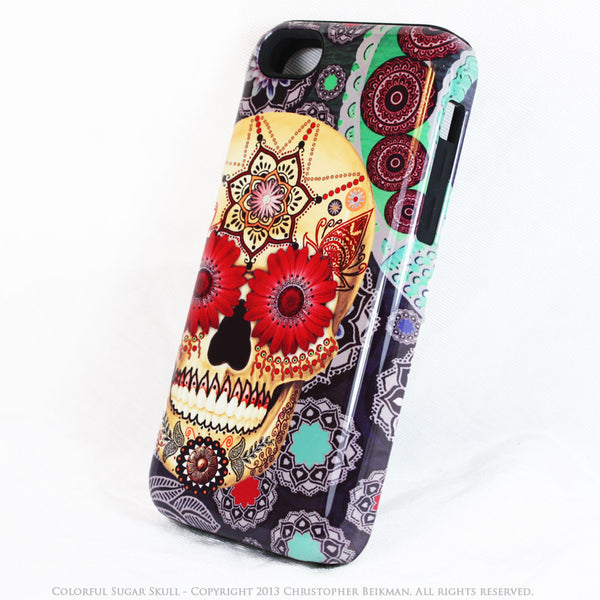 Colorful Skull iPhone 5c TOUGH Case - Sugar Skull Paisley Garden - Day of the Dead dual layer iPhone case - iPhone 5c TOUGH Case - 2