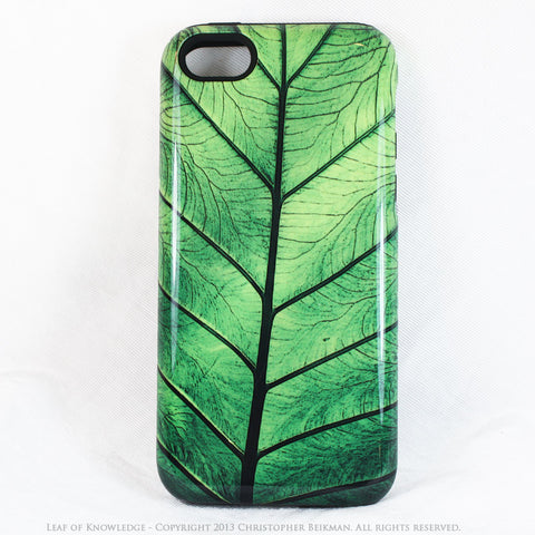 iPhone 5c TOUGH Case - Leaf of Knowledge - Tropical Green Leaf Art -  Dual Layer Artistic Case - iPhone 5c TOUGH Case - Fusion Idol Arts - New Mexico Artist Christopher Beikmann