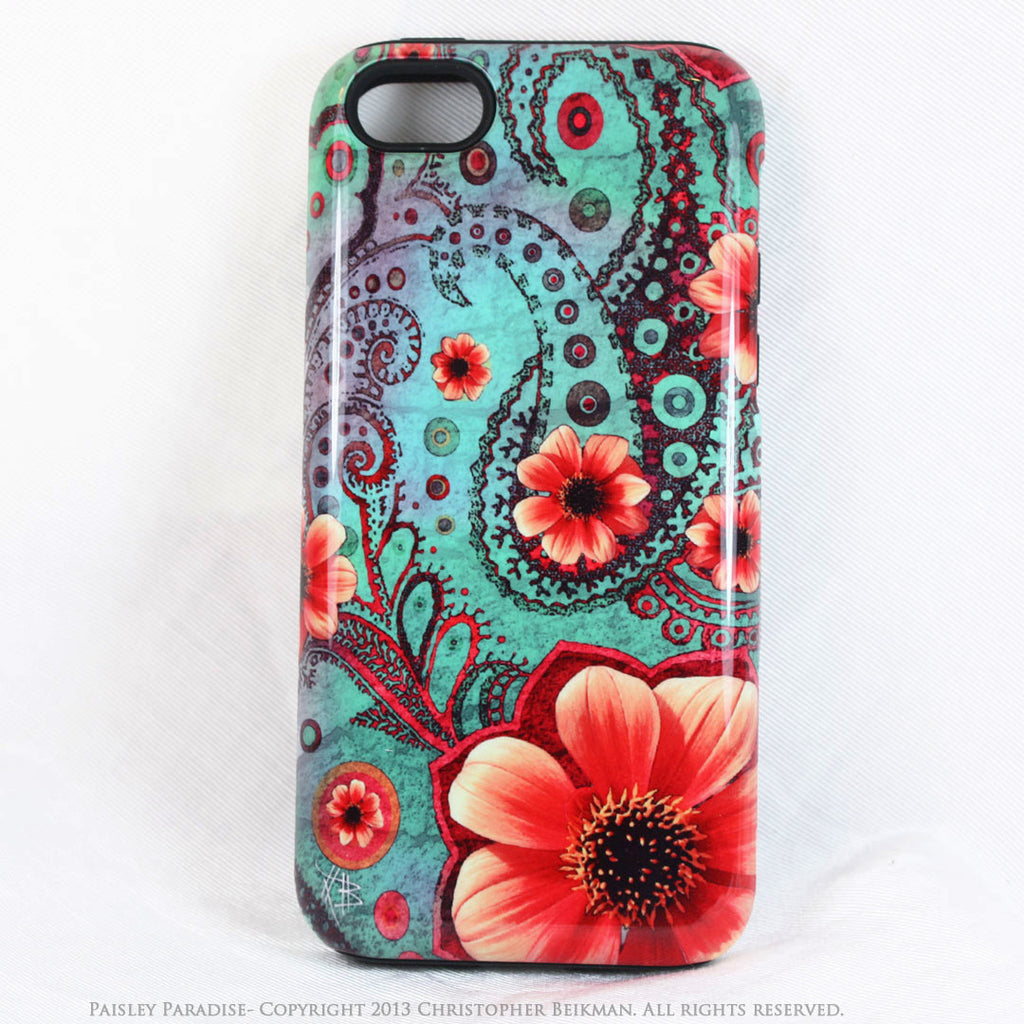Teal Paisley iPhone 5c TOUGH Case - Paisley Paradise - Floral Dual Layer iPhone Case - Fusion Idol Arts
