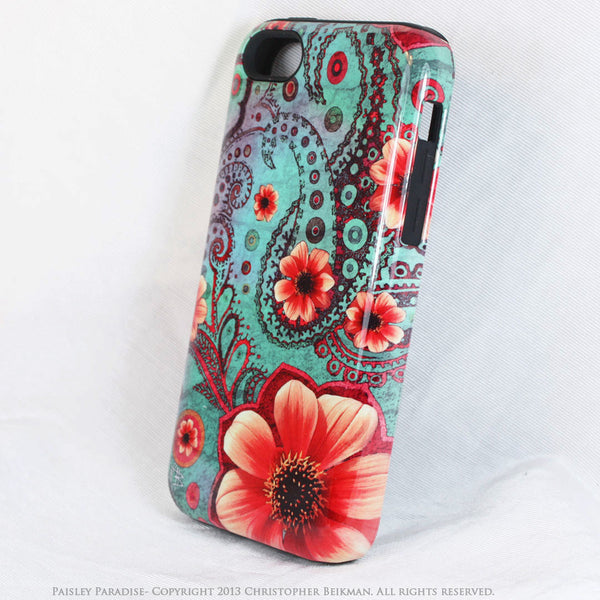 Teal Paisley iPhone 5c TOUGH Case - Paisley Paradise - Floral Dual Layer iPhone Case - iPhone 5c TOUGH Case - Fusion Idol Arts - New Mexico Artist Christopher Beikmann