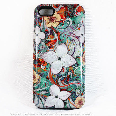 Dogwood Floral iPhone 5c TOUGH Case - Sangria Flora - Turquoise and Orange Floral Dual Layer iPhone Case - Fusion Idol Arts